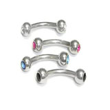 Stainless Steel Curved Barbell W/ Gem