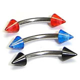 Stainless Steel Curved Barbell W/ Cone