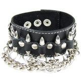 Black Leather Cuff (Design C4)
