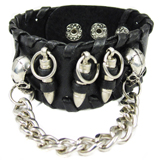 Black Leather Cuff (Design C6)