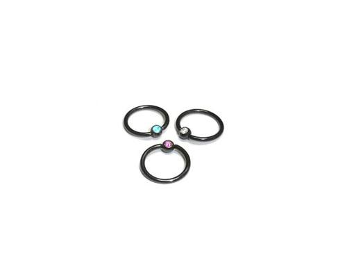 Black Steel Captive Ring W/ Gem