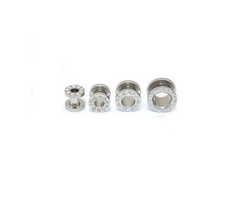 Stainless Steel Ear Screw W/ Clear Gem