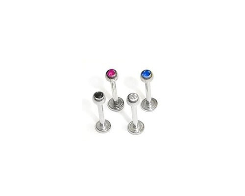 Stainless Steel Labret W/ Gem