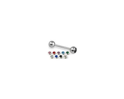 Stainless Steel Straight Barbell W/ Gem