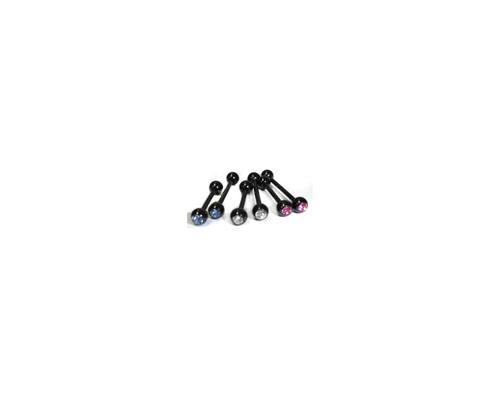Black Straight Barbell W/ Gem